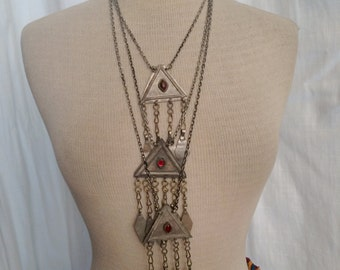 Set of Three Chain Necklaces with Vintage TurkomanPendants 18 24 and 30 Inches