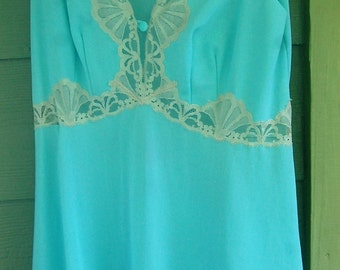 Vintage Emilio Pucci Nightgown by Formfit Pale Aqua Size Small