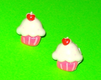 Super Yummy Vanilla and Pink Cupcakes Post Earrings