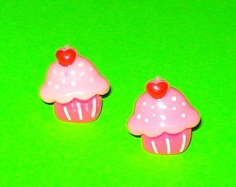Cupcakes Super Yummy Strawberry Blueberry Vanilla Pink White Blue Post Earrings - More Styles