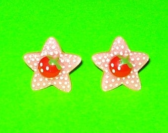 Strawberry Star Super Kawaii Pink and Red Polka Dot Post Earrings - More Colors