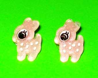 LAST ONE! Sweet Pink Deer Glitter Kawaii Animal Cute Bambi Post Earrings