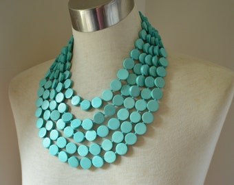 The Charlotte- Light Blue Wood Statement Necklace