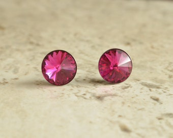 The Danica- Fuchsia Swarovski Post Earrings