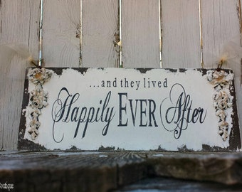 Happily Ever After Sign. Wedding Signs. Vintage Wedding Decor. Shabby Chic Wedding. Wood Signs. Wood Wall Art. Flower Girl Sign.