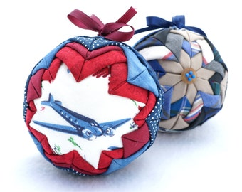 Handmade Airplane Quilted Ornament from Vintage Folded Fabric in Patriotic Red White and Blue - Christmas Military Gift for Him