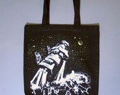 spaceship tote, scifi, astro fashion, fantasy tote bag, black bag, screenprinted bag, boho, alt, bohemian black canvas tote