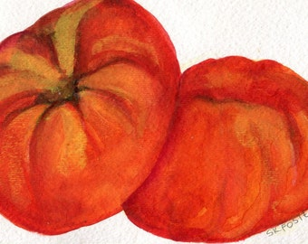 Tomatoes painting, Tomato watercolor painting original, Red Kitchen Wall Art, tomatoes kitchen decor 4 x 6, Culinary watercolor