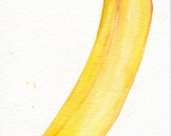Banana watercolor painting original 5 x 7  Banana Illustration, kitchen decor, original watercolor art, small fruit wall art