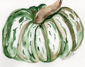 Green, White Pumpkin painting, kitchen wall art, original watercolor painting 4 x 6  Fall, Thanksgiving decor striped pumpkin art Fall decor