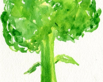 Broccoli Painting watercolor, Vegetable Series, 4 x 6 Original, Food, kitchen art, decor