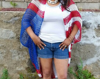 American Flag Sweater, Bohemian Kaftan, Nautical, Red Stripes, Flag Kimono, Americana, Boho Sweater, Swimsuit Cover