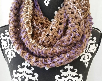 Purple and Brown Infinity Scarf