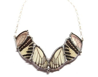 Abstract Butterfly Statement Necklace - Real Butterfly Wings in Black and White