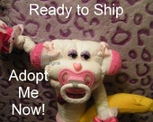 Ready Made Pink Diaper MONKEY. Adopt me now. Baby Gift, Baby Shower Centerpiece, Diaper Cake Topper, New Baby Gift