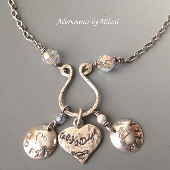 Grammy Grandma Necklace - 2 Two Grandchildren Names Personalized Jewelry