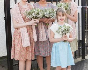 Mismatched bridesmaids tea dresses 1940s vintage style cap sleeve dress vintage wedding polka dot poppy print floral print spring summer