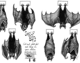 Shelf bats, cut out Halloween decorations