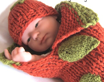 Baby Pumpkin Cocoon Knitting Pattern - Fast & Easy DIY - Halloween Costume, Thanksgiving Gift