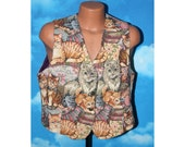 Cats and Kittens Womens Vest XL Vintage 1990s
