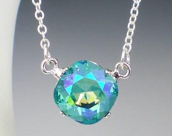 Lt Turquoise Glacier Blue Rhinestone Necklace Swarovski Aqua Blue Green Wedding Jewelry Bridesmaid Necklace MADE TO ORDER