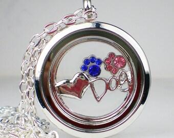 Floating Glass Locket Dog Birthstone Necklace Dog Lovers Jewelry Crystal Rhinestone Paw Print MADE TO ORDER