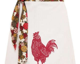 Organic block print rooster apron