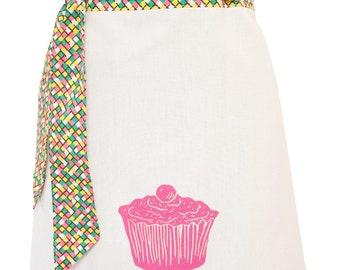 Organic block print cupcake apron