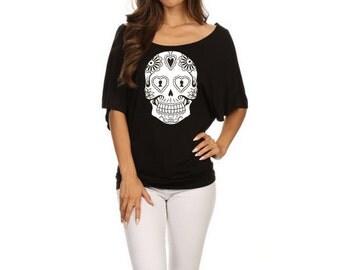 Sugar Skull dolman shirt Womens Slouchy Plus Size Off shoulder Shirts screen printed skulls Day of the Dead shirts med, large, XL, 2XL 3XL