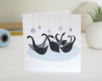 Christmas Card: Seven Swans a Swimming