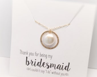 Pearl Bridesmaid Necklaces, Gold Eternity Circle, Friendship Necklaces, Gold Eternity Necklaces, Bridesmaid Gift, Thank you gift, Karma