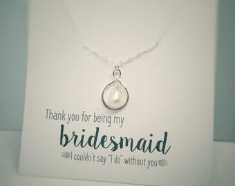 Infinity Necklaces, Bridesmaid Necklaces, Pearl Necklaces, Bridesmaid Gift, Silver Infinity Pendant, Teardrop Pearl, Friendship Necklaces