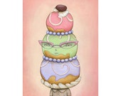Courtesan Au Chocolat,  archival print of an original painting by Anna Tillett Designs
