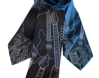 Electric Guitar Necktie. 100% silk guitar tie. Music lover gift. Rock and roll music tie. Pale grey print on black, blue & more.