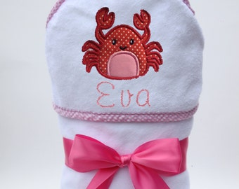 Personalized Hooded Towel Polka Dot Crab for Baby Girl or Toddler Girl