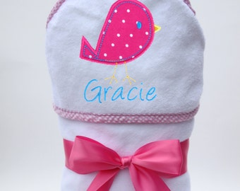 Personalized Hooded Towel Baby Bird for Baby Girl or Toddler Girl