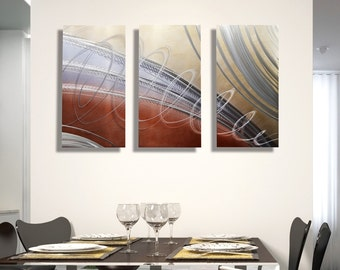 NEW! Blue, Brown and Silver Contemporary Painting - Modern Metal Wall Art - Home Decor - Living Room Artwork - Karmic Latte by Jon Allen