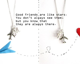 Long Distance Sisters Necklace,Set of 2 personalized silver airplane necklaces,matching couple jewelry,Long Distance bestfriend necklace