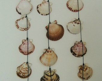 Seashell Wind Chime Mobile, Handmade with Driftwood and Calico Scallops, Decorate your Patio, Deck, Garden, Great Coastal Style Summer Gift