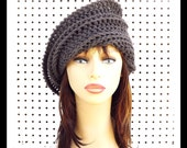 Graphite Crochet Hat, Graphite Gray Crochet Hat Womens Hat Steampunk Hat Crochet Beanie Hat Graphite Gray Hat Graphite Hat, JUDY Beanie Hat