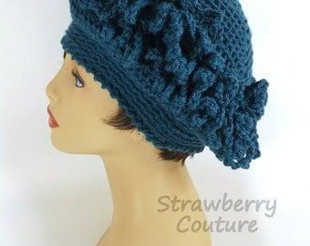 Cloche Hat 1920s,  Womens Crochet Hat,  Womens Hat,  Linda 1920s Cloche Hat,  Steampunk Hat,  Antique Teal Blue Hat