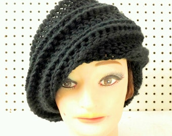 Womens Black Beanie Hat, Black Crochet Hat Womens Hat, Womens Crochet Hat, Crochet Beanie Hat, Black Hat, Judy Beanie Hat for Women