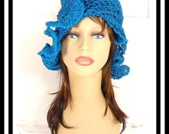 Turquoise Blue Crochet Hat Womens Hat, Crochet Beanie Hat, Turquoise Hat with Ruffle, Hemp Sun Hat, CYNTHIA Beanie Hat