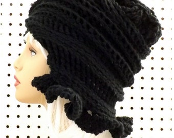 Crochet Cloche Hat 1920s,  Black Womens Crochet Hat,  Crochet Womens Hat 1920,  Black Hat,  Cynthia 1920s Cloche Hat with Ruffle