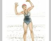 greetings card: 'The Shingle Shuffle' - art card, open water swimming, wild swimming