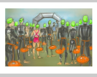 greetings card: 'Green Hats are Ready to Go!' - art card, open water swimming, triathlon