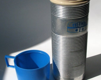 Thermos - Vintage - Camping - Aluminum - Blue Cap - Glass Lined