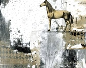Horse Art , Horse Painting , 11x14 Art Print , Large Wall Art, Southwest Home Decor, Mixed Media collage Art Print