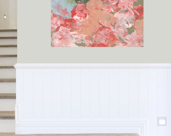 Flower Painting, Flower Art Print, Canvas Painting, Abstract Painting, Flower Wall Art , Large Wall Print , Large Painting