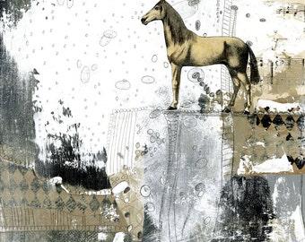 Horse Art Print- Mixed Media Collage Art Print or Print on Canvas, Modern Farmhouse Decor